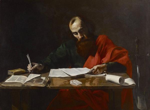Probably Valentin de Boulogne   Saint Paul Writing His Epistles   Google Art Project